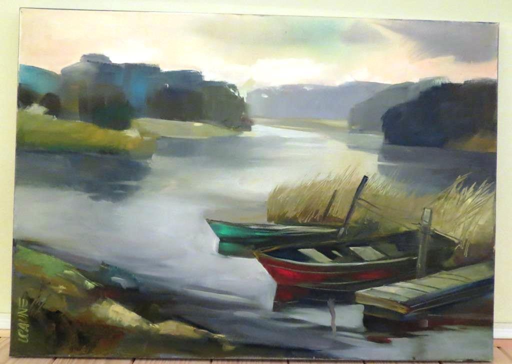"""Balva -mākslinieces Ligitas Caunes glezna """"Rīts pie ezera"""", 2015."""