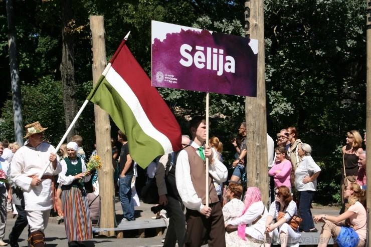 Sēlijas karogs XXV Vispārējo latviešu Dziesmu un XV Deju svētku gājienā. Foto: Daiga Bazule, 2013.07.15