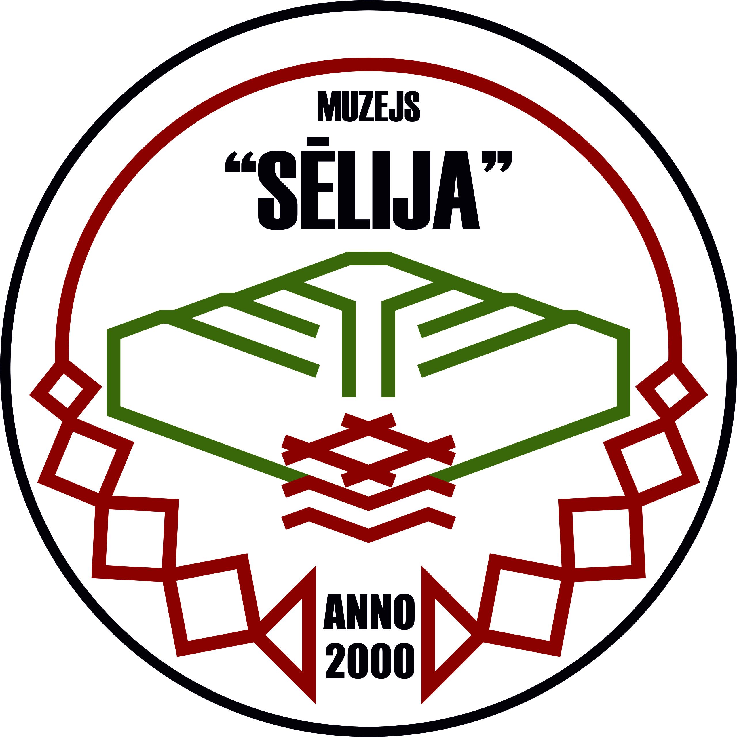 """Muzeja """"Sēlija"""" logo Sēlijas karoga krāsās."""